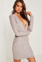 Missguided Faux Suede Long Sleeve Bodycon Dress Grey