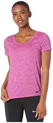 Nike Dry Legend Cross-Dye Tee (Fire Pink/Heather/Black) Women's Short Sleeve Pullover