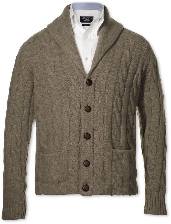 Charles Tyrwhitt Oatmeal cable shawl collar cardigan