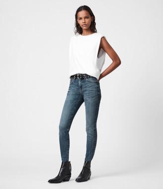AllSaints Miller Mid-Rise Sizeme Jeans, Hunter Blue