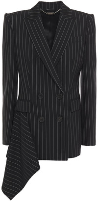 Alexander McQueen Double-breasted Draped Pinstriped Wool-blend Blazer