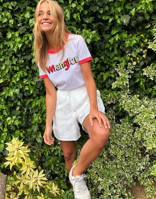 Wrangler logo ringer t-shirt in white