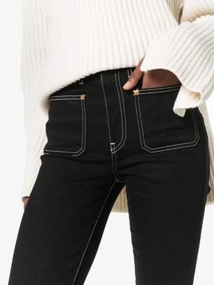 KHAITE Raquel cropped contrast topstitch jeans