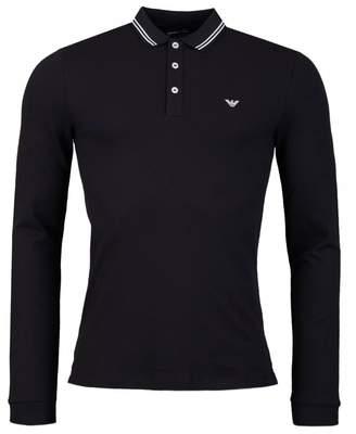 Giorgio Armani Tipped Long Sleeved Slim Fit Polo Colour: BLACK, Size: SMALL