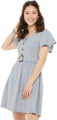 So Juniors' Circle Buckle Short Sleeve Dress