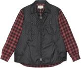 Gucci GG nylon shirt with check sleeves