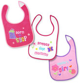 First Impressions Baby Set, Baby Girls 3-Pack Born To Shop Bibs