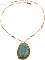 Barse BIJOUX BAR Art Smith by Genuine Turquoise & Crystal Brass Pendant Necklace