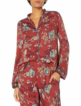 3J Workshop by Johnny Was Women's Red Printed Button Down Shirt