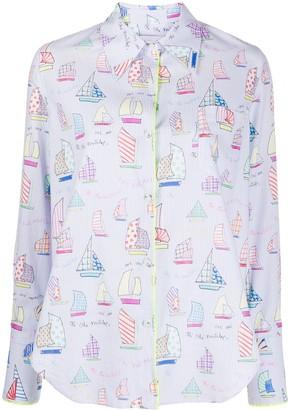 Mira Mikati Sail Boat Print Shirt