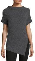 Etoile Isabel Marant Clifford High-Neck Short-Sleeve Alpaca-Wool Top