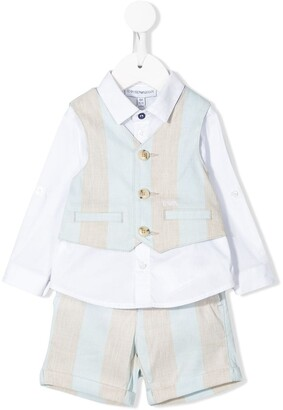 Emporio Armani Kids Striped Three Piece Short Suit