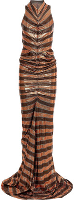 Rick Owens Lilies Ruched Burnout Metallic Striped Stretch-knit Gown