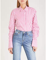 Mo&Co. Striped ruched-sleeve cotton shirt