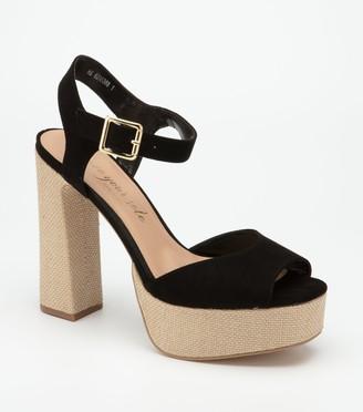 New Look Canvas Platform Block Heel Sandals