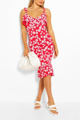 boohoo Daisy Ruffle Detail Midi Dress