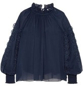 See by Chloe Gathered Floral-appliqued Georgette Blouse