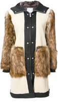 Sacai faux fur panel shearling coat