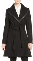 Calvin Klein Wool Blend Skirted Wrap Coat