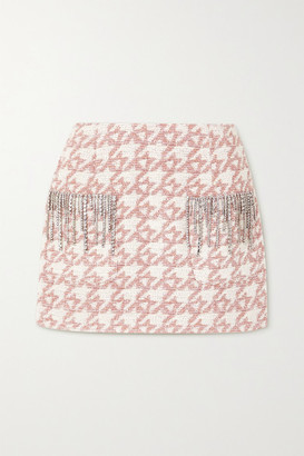 Area Crystal-embellished Metallic Houndstooth Tweed Mini Skirt - Pink