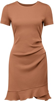Forever New Annie Rib Short Sleeve Frill Dress - Rust - 10