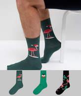 Asos Socks With Christmas Flamingos 3 Pack
