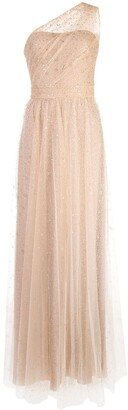 Marchesa Long One-Shoulder Dress