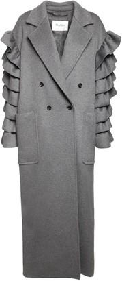 Max Mara Double Cashmere Coat W/ Ruffles