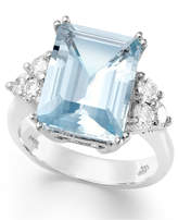 Macy's 14k White Gold Ring, Aquamarine (5-1/2 ct. t.w.) and Diamond (1/2 ct. t.w.) Emerald-Cut Ring