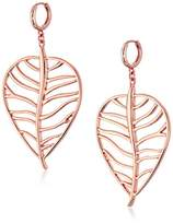 Vince Camuto Click Back Huggy with Cut Out Leaf Drop Earrings