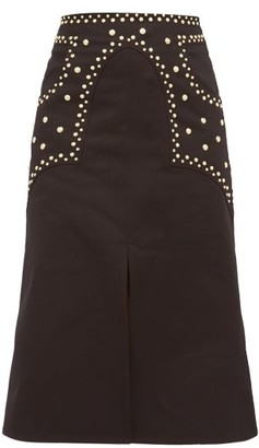 Françoise Francoise - Studded Cotton-twill A-line Skirt - Womens - Black