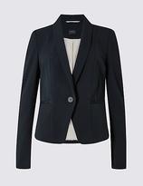 M&S Collection Grosgrain Trim Single Button Blazer