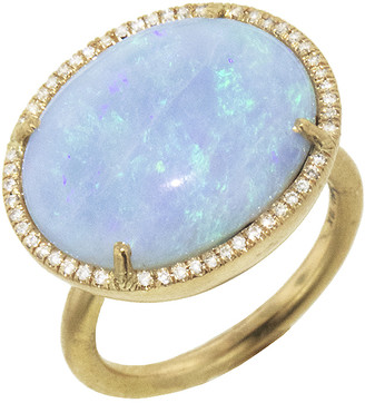 Irene Neuwirth One-Of-A-Kind Boulder Opal and Diamond Pave Ring - Yellow Gold