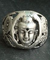 Nautilus Silvertone Buddha Adjustable Ring
