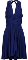 Norma Kamali Convertible Pleated Stretch-Jersey Mini Dress