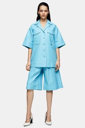 Topshop Blue Leather Shirt