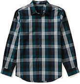 Perry Ellis Heather Exploded Plaid Long-Sleeve Woven Shirt