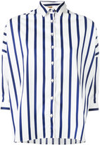 Fay cropped sleeve striped shirt