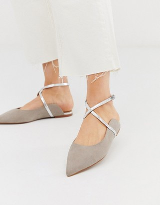 Asos Design DESIGN Legacy pointed ballet flats in gray
