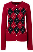 Classic Women's Cashmere Cardigan Sweater-Cherry Jam Argyle