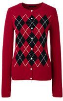 Lands' End Women's Petite Cashmere Cardigan Sweater-Radiant Navy Argyle