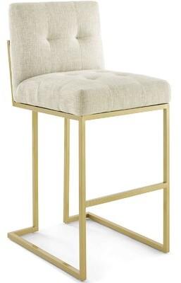 "Willa Arlo Interiors Privy Bar & Counter Stool Seat Height: Counter Stool (27.5"" Seat Height), Color: Gold, Upholstery: Polyester Beige"