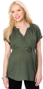 Motherhood Short Sleeve Ruffled Maternity Shirt