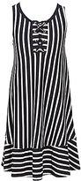 Copper Key Big Girls 7-16 Lace-Up Stripe Ruffle-Hem Dress