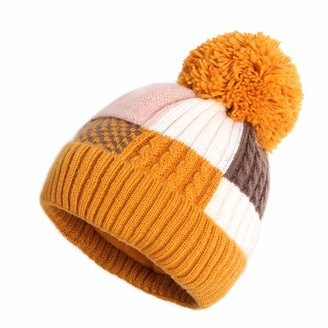 MEANBEAUTY Winter Hat for Women Knitted Beanie Hat with Colorful Bobble Pom Pom Hats for Outdoor Sports Ski Yellow
