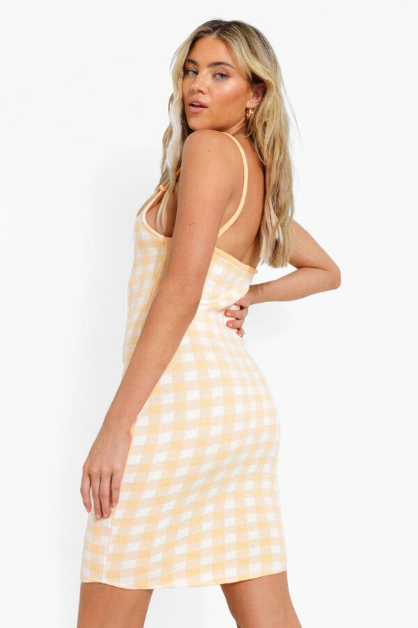 Thumbnail for your product : boohoo Gingham Knitted Dress