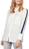 Mint Velvet Stripe Sleeve Shirt, Ivory