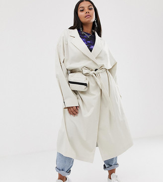 Collusion Plus trench coat with removable bag
