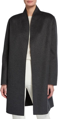 Neiman Marcus Belted Double Face Woven Cashmere Coat
