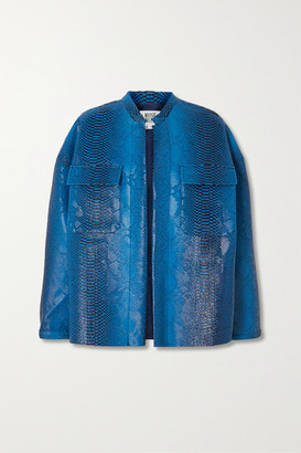 MAISIE WILEN Oversized Snake-effect Vinyl Jacket - Blue